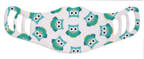 A washable and reusable polyester happy blue owls printed cloth face mask for kids, with three ear holes by each side